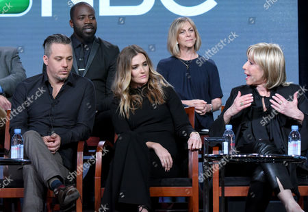 "Demetrius Grosse, from back row left, and Julie Weitz, and from front row left, Michael Raymond-James, Bre Blair and executive producer Carol Mendelsohn participate in the ""Game of Silence"" panel at the NBCUniversal Winter TCA, Pasadena, Calif"