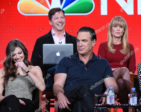 """Executive producer Sean Hayes, from top left, executive producer Suzanne Martin, front from left, Mia Serafino, and Patrick Warburton participate in the """"Crowded"""" panel at the NBCUniversal Winter TCA, Pasadena, Calif"""