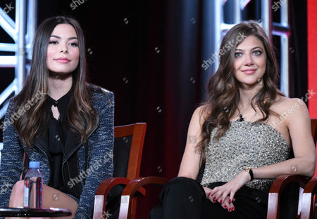 "Miranda Cosgrove, left, and Mia Serafino participate in the ""Crowded"" panel at the NBCUniversal Winter TCA, Pasadena, Calif"