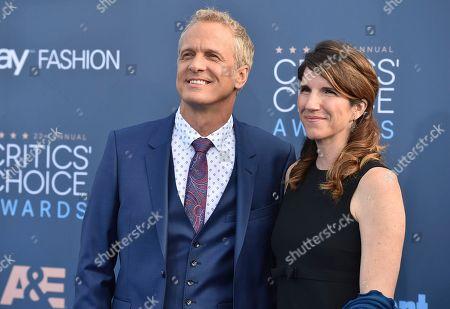 Patrick Fabian, left, and Mandy Fabian arrive at the 22nd annual Critics' Choice Awards at the Barker Hangar, in Santa Monica, Calif