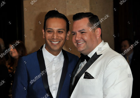 Salvador Camarena, left, and Ross Mathews arrive at the 25th Annual GLAAD Media Awards on Richard Shotwell/Invision/AP