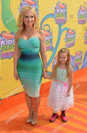 Leigh-Allyn Baker, left, and Mia Talerico arrive at the 27th annual Kids' Choice Awards at the Galen Center, in Los Angeles