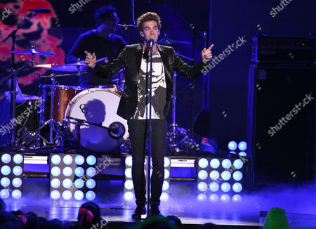 Stock Image of Zachary Barnett of American Authors performs on stage at the 27th annual Kids' Choice Awards at the Galen Center, in Los Angeles