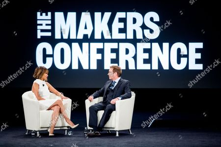 Halle Berry, left, and Kevin Huvane speak at the 2nd Annual MAKERS Conference at Terranea Resort, in Rancho Palos Verdes, Calif