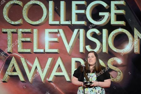Stock Image of Kimberly Snyder of Carlow University accepts the Mister Rogers Scholarship, New Media-Grable Foundation, onstage at the 34th College Television Awards presented by the Academy of Television Arts & Sciences Foundation at the JW Marriott Los Angeles L.A. Live on in Los Angeles, California