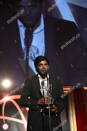 """Shubhashish Bhutiani of School of Visual Arts accepts the Directing Award for """"Kush"""" at the 35th College Television Awards, presented by the Television Academy Foundation at The Leonard H. Goldenson Theatre in the NoHo Arts District, in Los Angeles"""