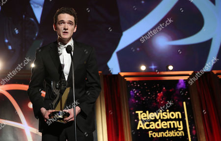 """Stock Image of Jack Carpenter of Champlain College accepts the award in the Alternative category for """"Lake Night with Jack Carpenter"""" at the 35th College Television Awards, presented by the Television Academy Foundation at The Leonard H. Goldenson Theatre in the NoHo Arts District, in Los Angeles"""