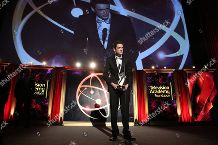 """Jack Carpenter of Champlain College accepts the award in the Alternative category for """"Lake Night with Jack Carpenter"""" at the 35th College Television Awards, presented by the Television Academy Foundation at The Leonard H. Goldenson Theatre in the NoHo Arts District, in Los Angeles"""