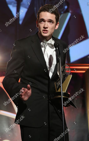 """Stock Photo of Jack Carpenter of Champlain College accepts the award in the Alternative category for """"Lake Night with Jack Carpenter"""" at the 35th College Television Awards, presented by the Television Academy Foundation at The Leonard H. Goldenson Theatre in the NoHo Arts District, in Los Angeles"""