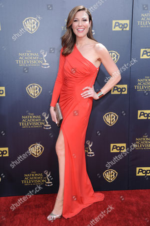 Thea Andrews arrives at the 42nd annual Daytime Emmy Awards at Warner Bros. Studios, in Burbank, Calif