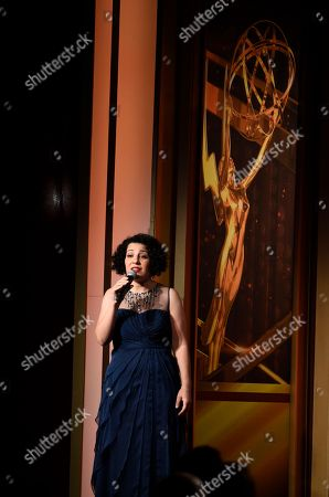 Julie Garnye performs at the 43rd annual Daytime Emmy Awards at the Westin Bonaventure Hotel, in Los Angeles