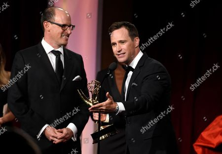 Mike Richards accepts the award for outstanding game show for The Price is Right at the 43rd annual Daytime Emmy Awards at the Westin Bonaventure Hotel, in Los Angeles