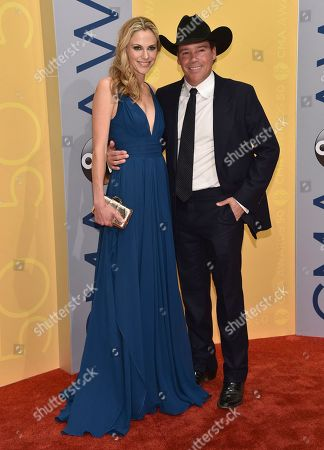 Clay Walker, right, and Jessica Craig arrive at the 50th annual CMA Awards at the Bridgestone Arena, in Nashville, Tenn