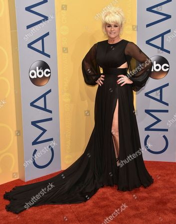 Lorrie Morgan arrives at the 50th annual CMA Awards at the Bridgestone Arena, in Nashville, Tenn