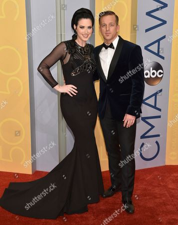 Shawna Thompson, left, and Keifer Thompson, of Thompson Square, arrive at the 50th annual CMA Awards at the Bridgestone Arena, in Nashville, Tenn