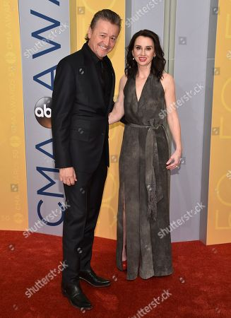 Mark Collie, left, and Tammy Collie arrive at the 50th annual CMA Awards at the Bridgestone Arena, in Nashville, Tenn
