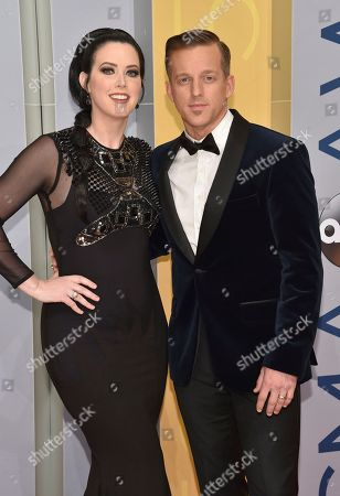 Shawna Thompson, left, and Keifer Thompson of Thompson Square arrive at the 50th annual CMA Awards at the Bridgestone Arena, in Nashville, Tenn