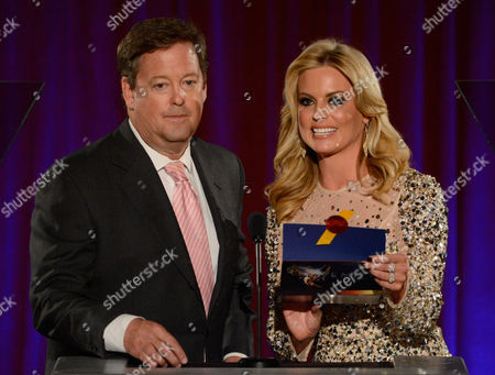 AUGUST 11: KTLA Reporter Sam Rubin (L) and KTTV Reporter Courtney Friel speak onstage at the Academy of Television Arts & Sciences 64th Los Angeles Area Emmy Awards on in Los Angeles, California
