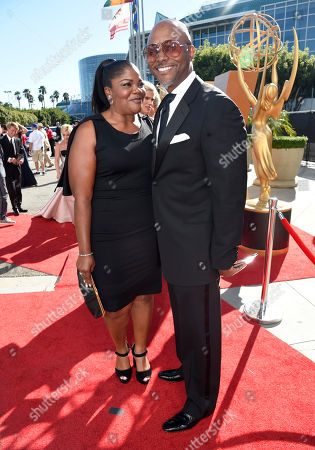 Mo'Nique, left, and Sidney Hicks arrive at the 67th Primetime Emmy Awards, at the Microsoft Theater in Los Angeles