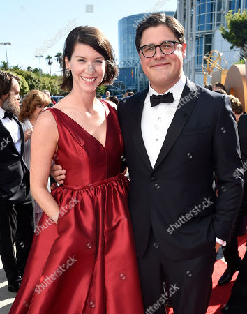 Rich Sommer, left, and Virginia Donohoe arrive at the 67th Primetime Emmy Awards, at the Microsoft Theater in Los Angeles