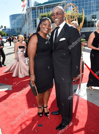 Stock Picture of Mo'Nique, left, and Sidney Hicks arrive at the 67th Primetime Emmy Awards, at the Microsoft Theater in Los Angeles