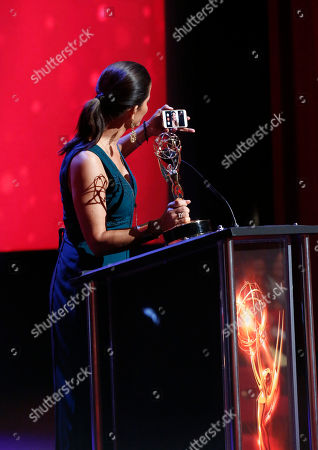 Lu Parker from KTLA5/KTLA5 News At Ten accepts the Emmy for Light News Story (Single Report) for 'Homeless Headshots'? at the L.A. Area Emmy Awards presented at the Television Academy's new Saban Media Center, in the NoHo Arts District in Los Angeles