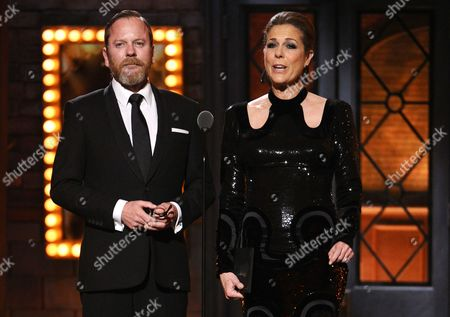 Stock Image of Keifer Sutherland and Rita Wilson presents the award for best direction of a play at the 69th annual Tony Awards at Radio City Music Hall, in New York