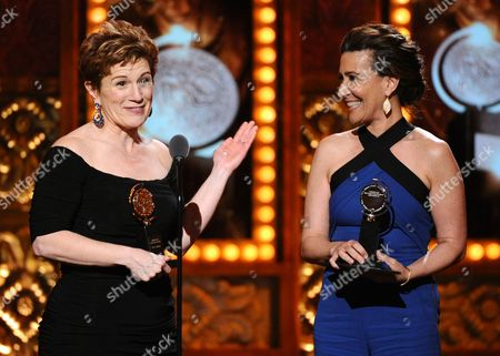 "Lisa Kron, left, and Jeanine Tesori accept the award for best score for Fun Home"" at the 69th annual Tony Awards at Radio City Music Hall, in New York"
