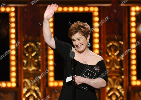 Lisa Kron accepts the award for best book for Fun House at the 69th annual Tony Awards at Radio City Music Hall, in New York