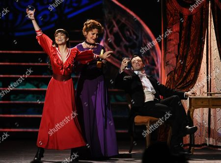 Vaness Hudgens, left, Victoria Clark and the cast of â?oeGigiâ?? perform at the 69th annual Tony Awards at Radio City Music Hall, in New York