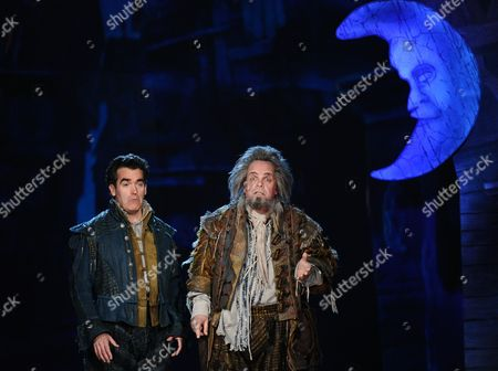 Brian D'Arcy James, left, and Brad Oscar of Something Rotten! performs at the 69th annual Tony Awards at Radio City Music Hall, in New York