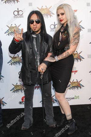 Stock Photo of Guitarist Sin Quirin of Ministry, left, attends the 6th Annual Revolver Golden Gods Award Show at Club Nokia on in Los Angeles, California