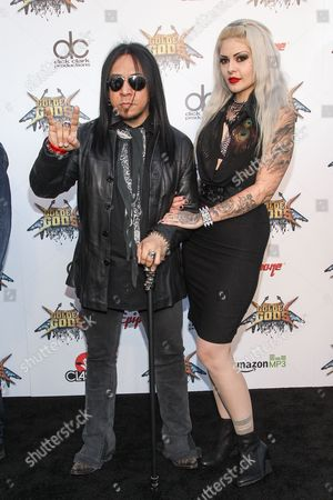Guitarist Sin Quirin of Ministry, left, attends the 6th Annual Revolver Golden Gods Award Show at Club Nokia on in Los Angeles, California
