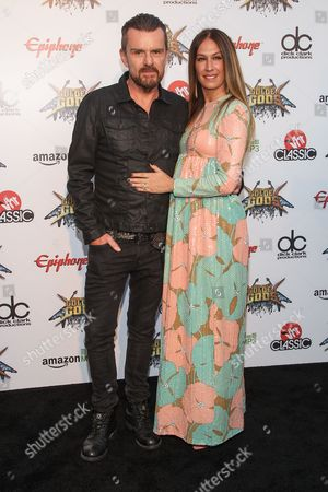 Guitarist Billy Duffy of The Cult, left, and TV personality AJ Celi attend the 6th Annual Revolver Golden Gods Award Show at Club Nokia on in Los Angeles, California