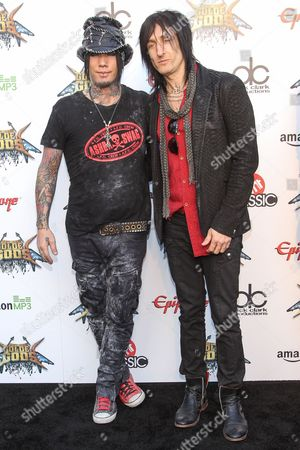 Guitarists DJ Ashba, left, and Richard Fortus of Guns N' Roses attend the 6th Annual Revolver Golden Gods Award Show at Club Nokia on in Los Angeles, California
