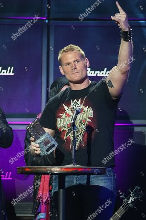 MMA Fighter Josh Barnett receives the Most Metal Athlete award on stage at the 6th Annual Revolver Golden Gods Award Show at Club Nokia on in Los Angeles, California