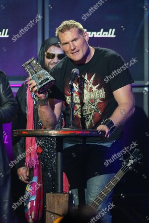 Stock Image of MMA Fighter Josh Barnett receives the Most Metal Athlete award on stage at the 6th Annual Revolver Golden Gods Award Show at Club Nokia on in Los Angeles, California