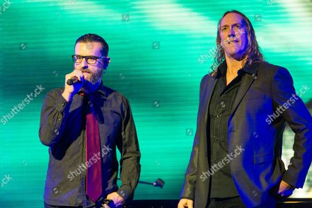 Justin Chancellor, left, and Danny Carey of Tool speak on stage at the 6th Annual Revolver Golden Gods Award Show at Club Nokia on in Los Angeles, California