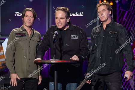 From left, Don Jameson, Eddie Trunk and Jim Florentine of 'That Metal Show' speak on stage at the 6th Annual Revolver Golden Gods Award Show at Club Nokia on in Los Angeles, California