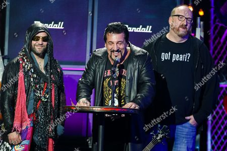 From left, Bam Margera, Chuck Zito, and Brian Posehn speak on stage at the 6th Annual Revolver Golden Gods Award Show at Club Nokia on in Los Angeles, California