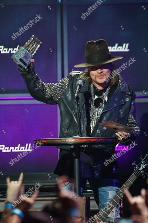 Axl Rose of Guns N' Roses receives the Ronnie James Dio Lifetime Achievement Award at the 6th Annual Revolver Golden Gods Award Show at Club Nokia on in Los Angeles, California