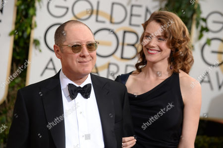 From left, James Spader and Leslie Stefanson arrive at the 71st annual Golden Globe Awards at the Beverly Hilton Hotel, in Beverly Hills, Calif