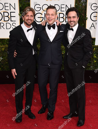 Ruben Ostlund, from left, Johannes Bah Kuhnke, and Erik Hemmendorff arrive at the 72nd annual Golden Globe Awards at the Beverly Hilton Hotel, in Beverly Hills, Calif