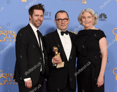 Mark Pybus, from left, Colin Callender, and Rebecca Eaton pose in the press room with the award for best television limited series - motion picture made for television for Wolf Hall at the 73rd annual Golden Globe Awards, at the Beverly Hilton Hotel in Beverly Hills, Calif
