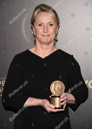 """Masterpiece senior series producer Susanne Simpson poses with the award for the PBS television show """"Wolf Hall"""" at the 75th Annual Peabody Awards Ceremony at Cipriani Wall Street, in New York"""