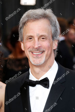 """Best film editing nominee for """"Argo,"""" William Goldenberg, arrives at the 85th Academy Awards at the Dolby Theatre, in Los Angeles"""