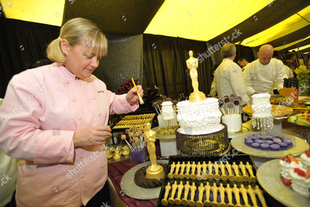 Chef Sherry Yard preps food at the Governor's Ball Red carpet preview at The Dolby Theatre on in Los Angeles. The 85th Annual Academy Awards will take place on Sunday, Feb. 24 at the Dolby Theatre in Los Angeles
