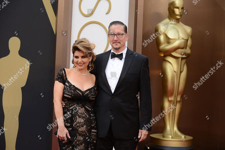 Nia Vardalos and Stephen Prouty arrive at the Oscars, at the Dolby Theatre in Los Angeles