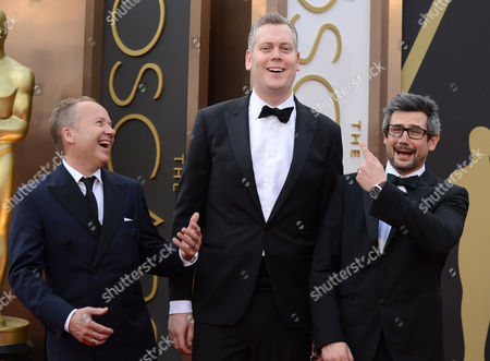 Glenn Freemantle, Christopher Benstead and Niv Adiri arrive at the Oscars, at the Dolby Theatre in Los Angeles