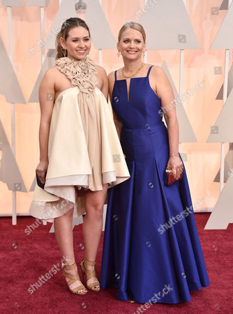 Stock Photo of Cathleen Sutherland, right, and guest arrive at the Oscars, at the Dolby Theatre in Los Angeles